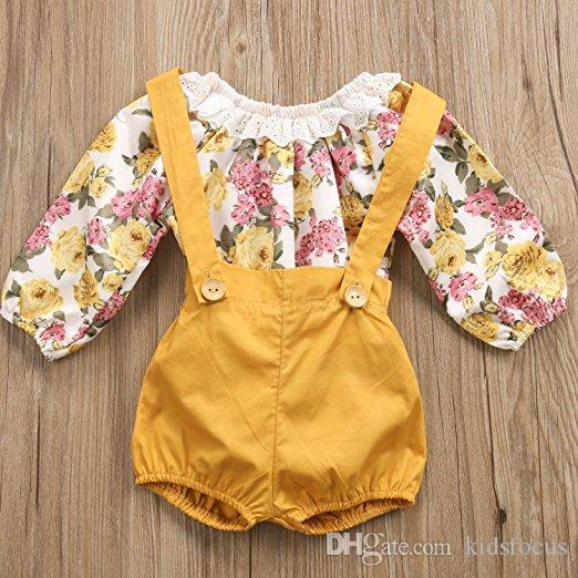 Newborn kids baby girls outfits clothes long sleeve flaoral romper +yellow suspender shorts pant outfits kids girls fashion suit