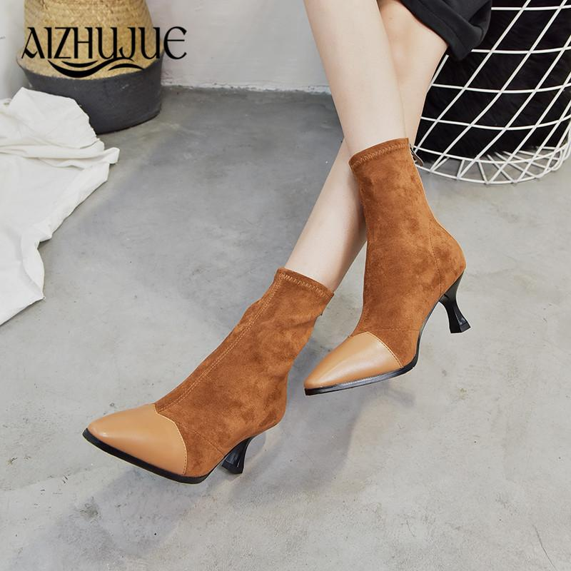41c03e4b17a3 2018 Flock Mid Calf Women Boots Pointed Toe Fashion Stiletto High Heels  Sexy Sewing Winter Black Boots Size Balck Brown Boats Winter Boots For Women  ...