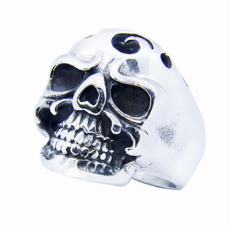 Newest Polish Ghost Skull Ring 316L Stainless Steel Popular Fashion Biker Dead Skull Ring