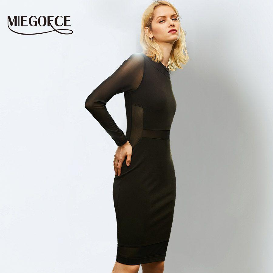Acquista Miegofce 2018 Elegante Abito Al Ginocchio Nero Lusinghiero Figura  In Nylon Maniche Ufficio Midi Dress Vestido Abiti Da Donna A  33.04 Dal  Darnelly ... 8aad5654a90