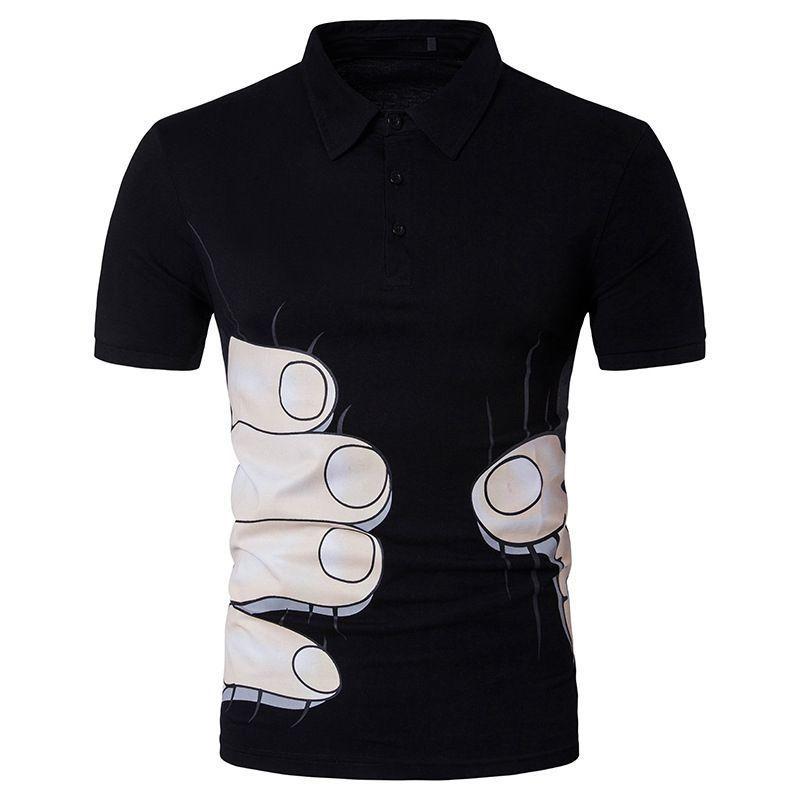 e760ec33466e6 Compre   4156 Camiseta Polo Divertida Para Hombre Slim Fit Camiseta Polo  Negra   Blanca   Gris Mano Impresa 3D Summer 2018 Camisa Polo Masculina  Anti ...