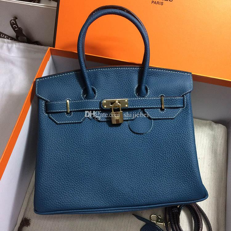 a97687b8440db Wholesale Women s Classic Genuine Leather Tote Padlock Handbags ...