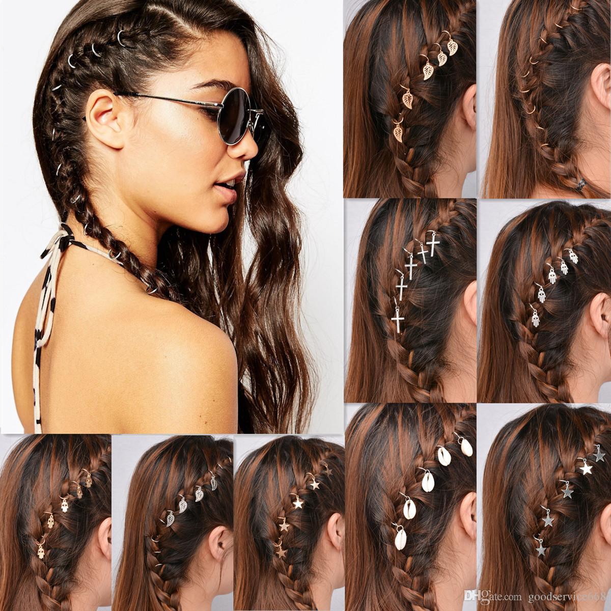 Sweet Braid Hair Charm Accessories Leaf Star Hair Clips ...