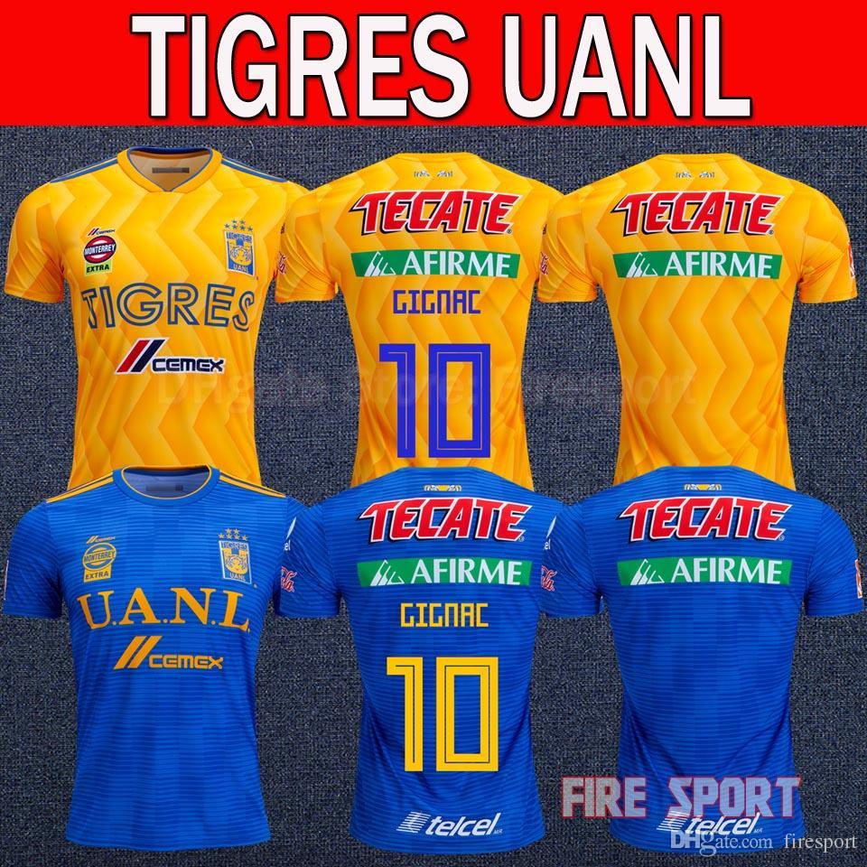 acb7d1fa4 2019 NEW 2018 TIGRES DE LA UANL Soccer JERSEY 18 19 LIGA MX Maillot De Foot  Home Yellow Away Blue 6 Star 10 GIGNAC Football Shirts Uniform From  Firesport