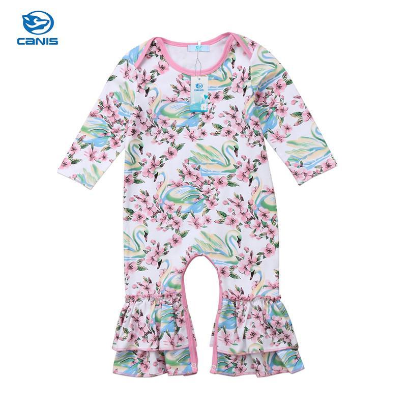 eee8fa240cb8 2019 CANIS Baby Girl Clothes Romper White Swan Flower Cute Newborn ...