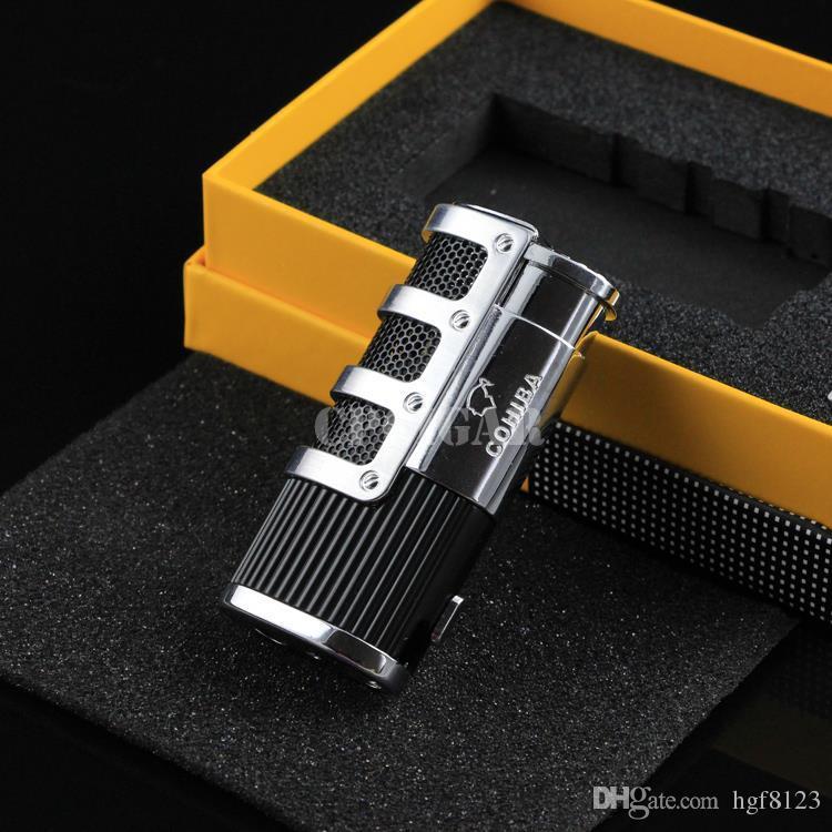 COHIBA высокого класса сеть броня сигары курение Ligther ж/ встроенный сигары удар пламени 3 Факел прикуривателя ж/ подарочная коробка