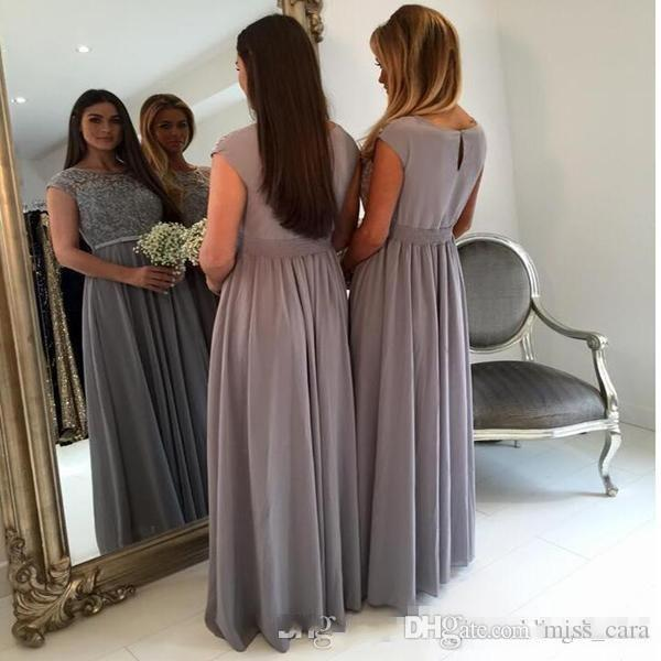 Elegant Grey Bridesmaids Dresses Long Jewel Neck Capped Sleeves A-line Floor-length Chiffon Maid of Honor Dress Plus Size Formal Gowns