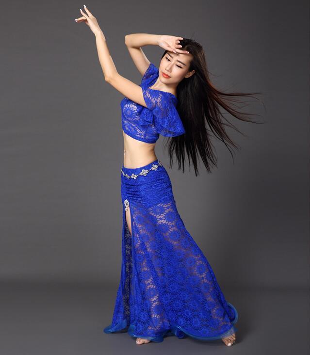 39f97df05 2-Piece Bellydance Costume Set Lace Dress Dancer Practice Clothing Top+  Split Skirt Traje De La Danza Del Ventre Free Shipping