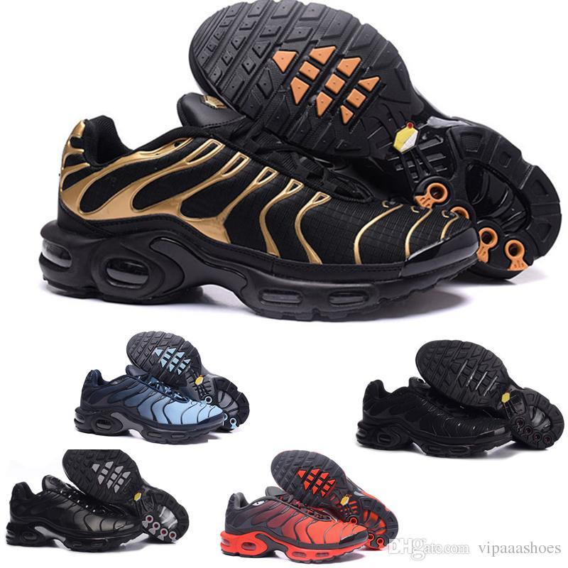 detailed look 01193 87d2c Acheter Nike Air Max Tn Plus Remise Top Quarity Womens Sneakers Classique  TN Hommes Chaussures De Course Noir Rouge Blanc Sport Trainer Femme Surface  ...