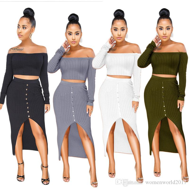 412be5a9452 2019 new winter long sleeve off shoulder crop top knitted slit irregular  midi maxi skirts 2pcs bodycon sexy women's set