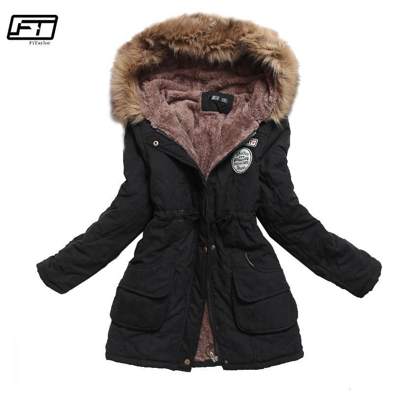 on sale e8f6a 4d033 Fitaylor Winterjacke Frauen Dicke Warme Mit Kapuze Parka Mujer Baumwolle  Gepolsterte Mantel Langen Absatz Plus Größe 3xl Dünne Jacke FemaleY1882402