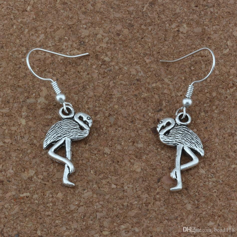 Flamingo Crane Ohrringe versilbert Fisch Ohr Haken / Antik Silber Kronleuchter Schmuck 12x40.5mm A-272e