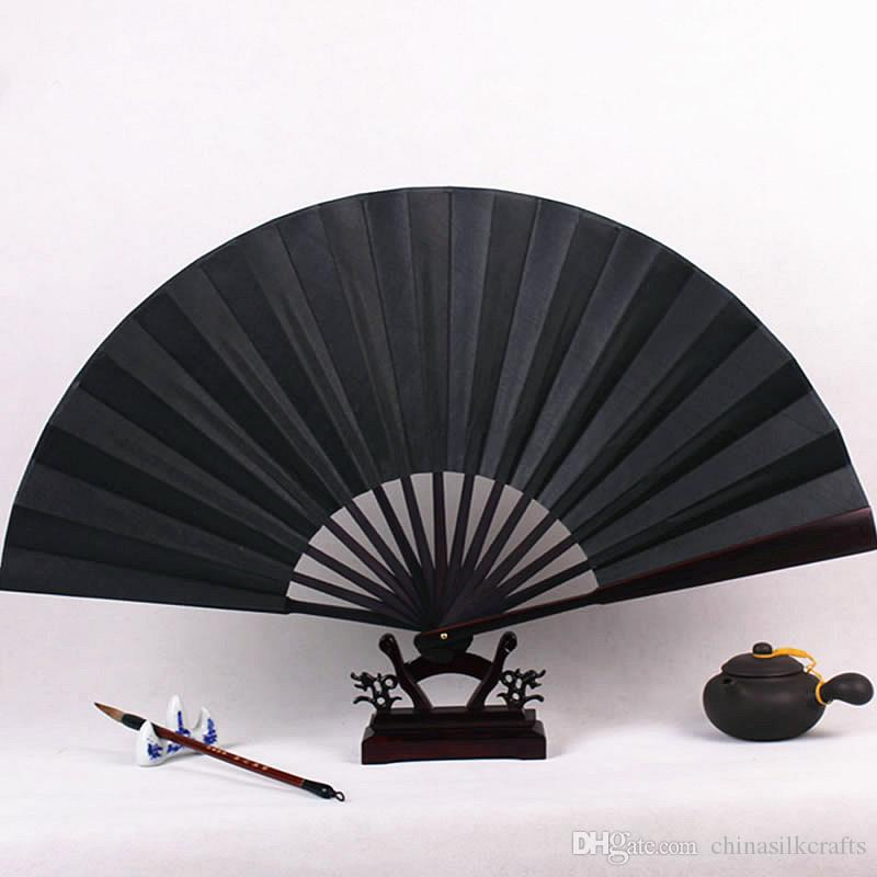 2019 Blank Black Hand Fan Large Chinese Bamboo Silk Folding DIY Wedding Program Adult Fine Art Painting From Chinasilkcrafts 549