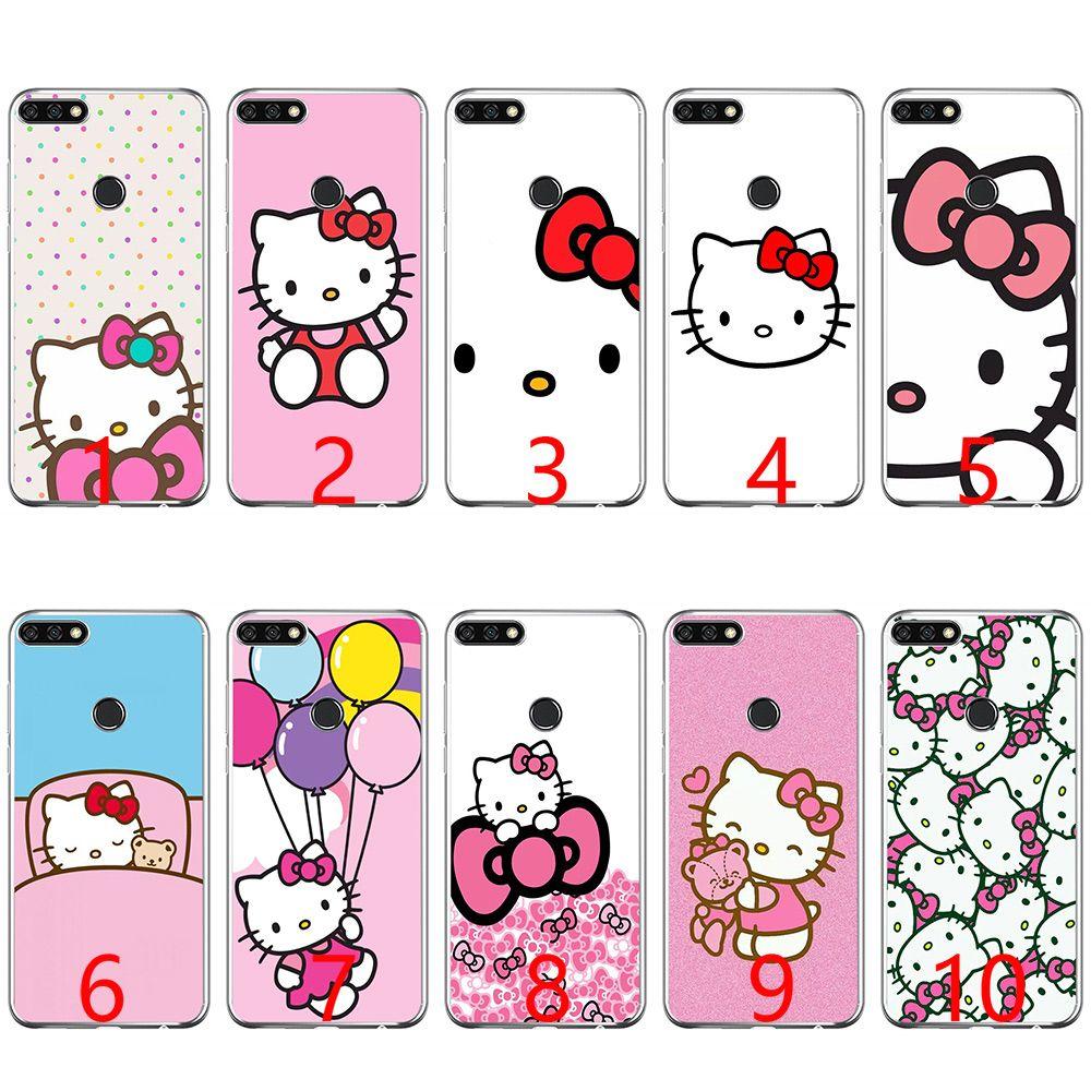 a985ec7371f Personaliza Tu Carcasa Carcasa De Silicona Suave De Hello Kitty Para Huawei  P8 P9 Lite 2015 2016 2017 P10 20 Lite P Smart Fundas De Movil Personalizadas  Por ...