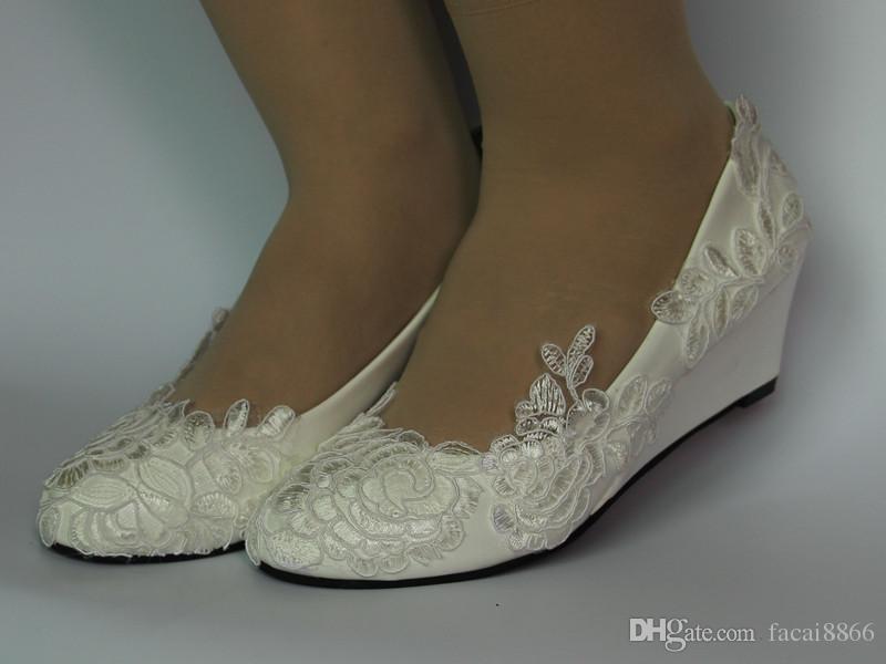 Новый белый свет слоновой кости кружева свадебные туфли плоские низкий высокий каблук клинья Свадебный размер 35-40