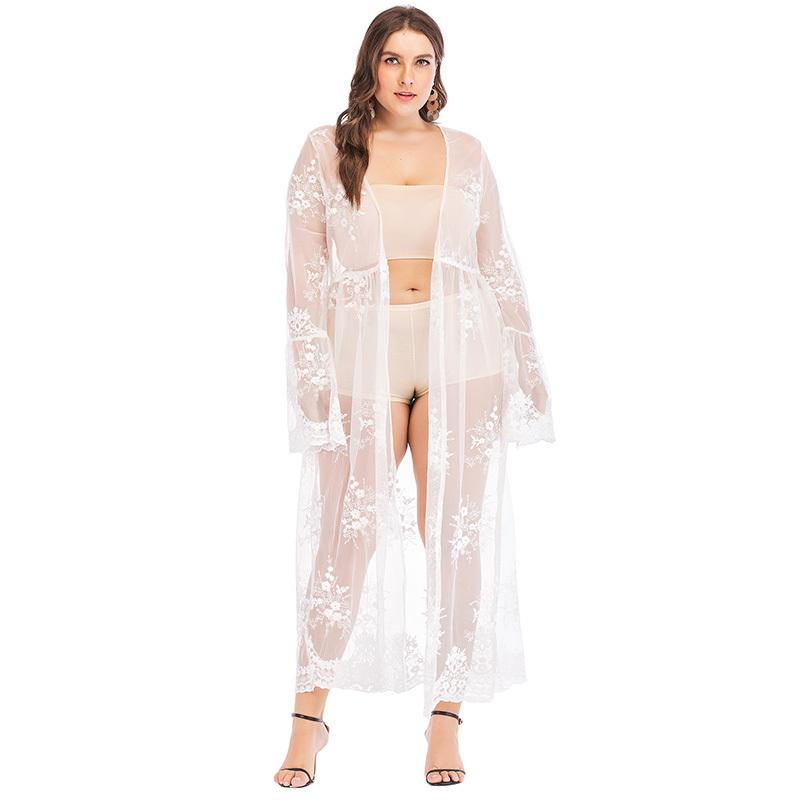 abb942fc582726 2019 Sexy Women 4XL Plus Size Robe De Plage Sheer Lace Mesh Floral  Embroidery Long Sleeve Cardigan Beach Long Blouse White Swimwear From  Liasheng07, ...