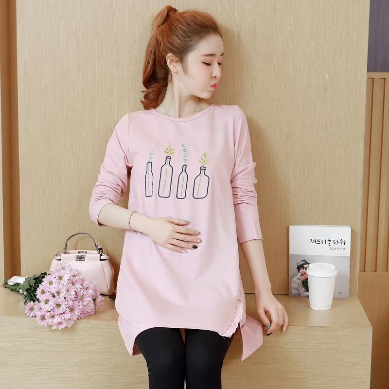 fd902597eb8b9 2018 BONJEAN Hot Sale Maternity Tops Spring And Autumn Maternity T Shirt  Printed Long Sleeve Cotton Clothes For Pregnant Women From Jasmineer, ...