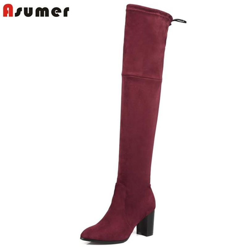 e645cf8f6f28 ASUMER Hot Sale Over The Knee Women Boots Round Toe High Square Heels  Autumn Nubuck Flock Leather Ribbons Fashion Women Boots Mid Calf Boots  Womens Ankle ...