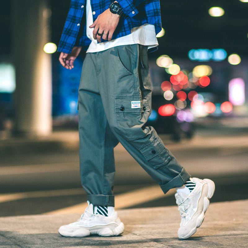 free shipping 2c24c 33edb Tuta multi-tasca in stile americano per uomo e donna chic stile allentato  pantaloni larghi gamba stile Hong Kong