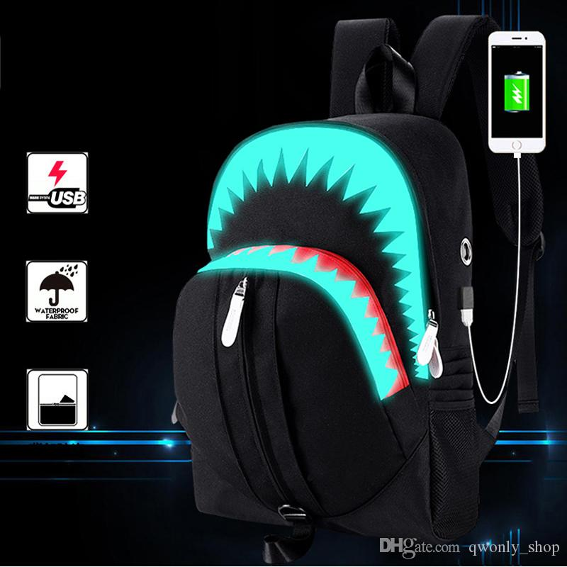 cef12bd4a7 Men Canvas Load Reduction Backpack Sewing Thread With Usb Interface Women  Bags Luminated Cartoon Shark Pattern Shoulder Bag Canvas Shark Backpack  Luminated ...