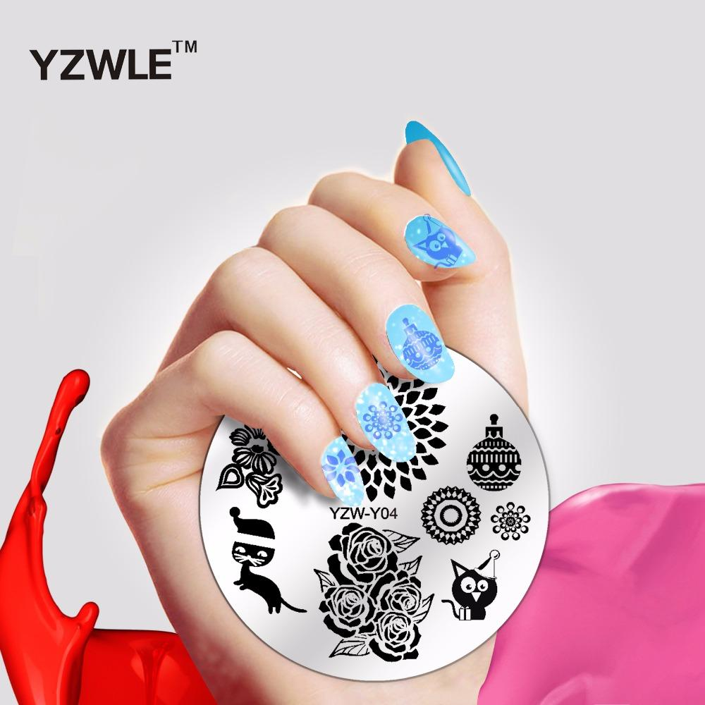 Yzwle Fashion Round Flower Design Nail Art Image Stamp Stamping