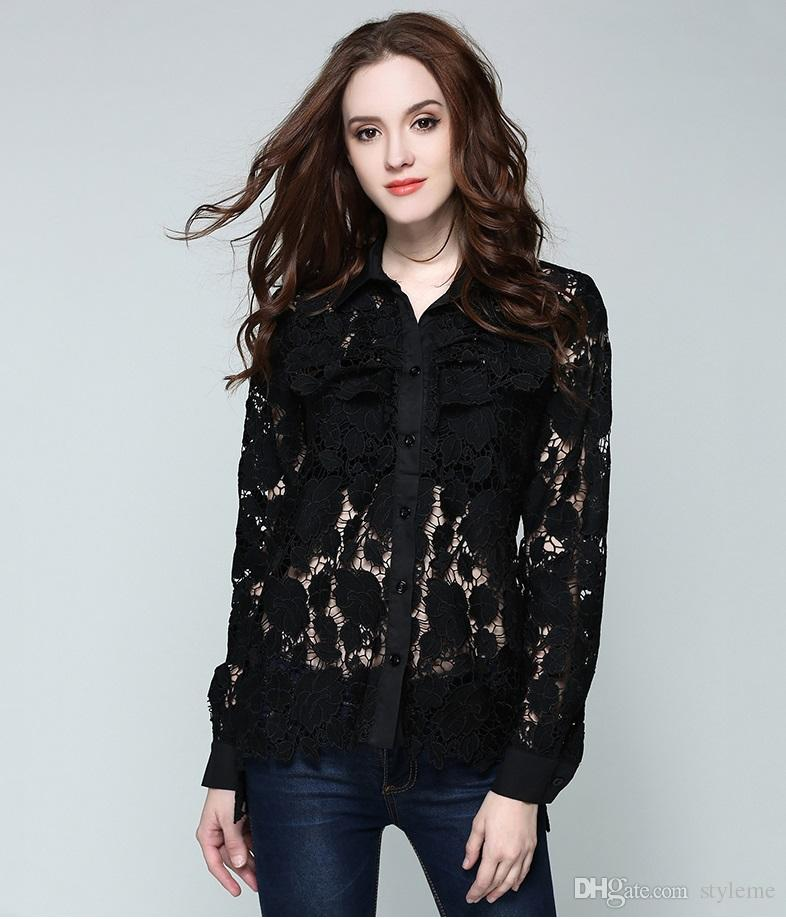 66f578a0392 Brand Designer Women Lace Black Blouse 2018 Summer Fashion Collar Hollow  Out Long Sleeve Party Crochet Shirts Cocktail Tops