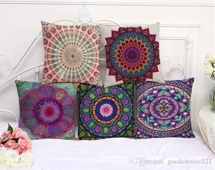 Mandala Indian Ombre Pillow Case Hippie Boho Throw Cushion Cover ...