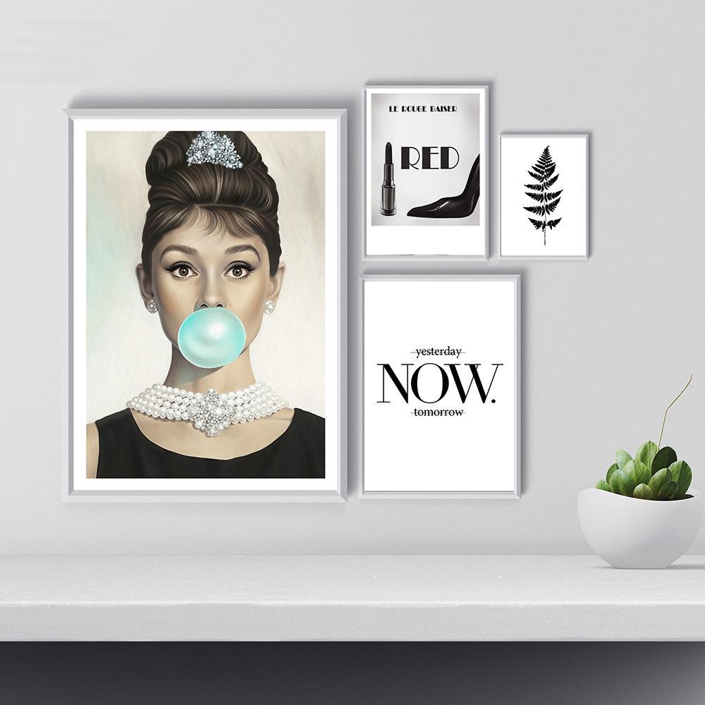 Großhandel Audrey Hepburn Blase Lippenstift Leinwand Malerei Mode