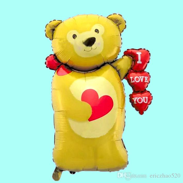 Love Heart Bear Helium Aluminum Foil Balloons Cuts Kids Balloon Toys Gifts For Birthday Wedding Decor Wholesale