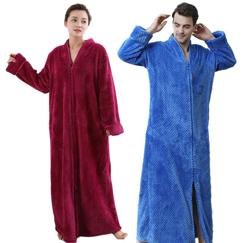 70a8542b56 2019 Men Women Plus Size Extra Long Warm Coral Fleece Bathrobe Winter Thick  Flannel Thermal Bath Robe Male Dressing Gown Mens Robes From Yzlwatchfine