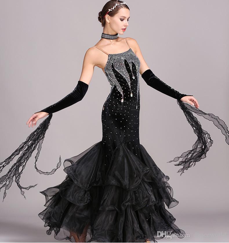 5 renkler mavi rhinestones balo salonu dans elbise standart elbiseler modern dans kostüm aydınlık kostümleri balo salonu elbise vals