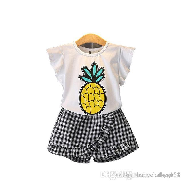 e0915898eec 2018 Summer O-Neck Sleeveless Toddler Girl Pineapple Tops Lattice Pants  Girls Suit Kids Clothes Children Clothing Sets Clothing Sets China Girls  Clothes ...