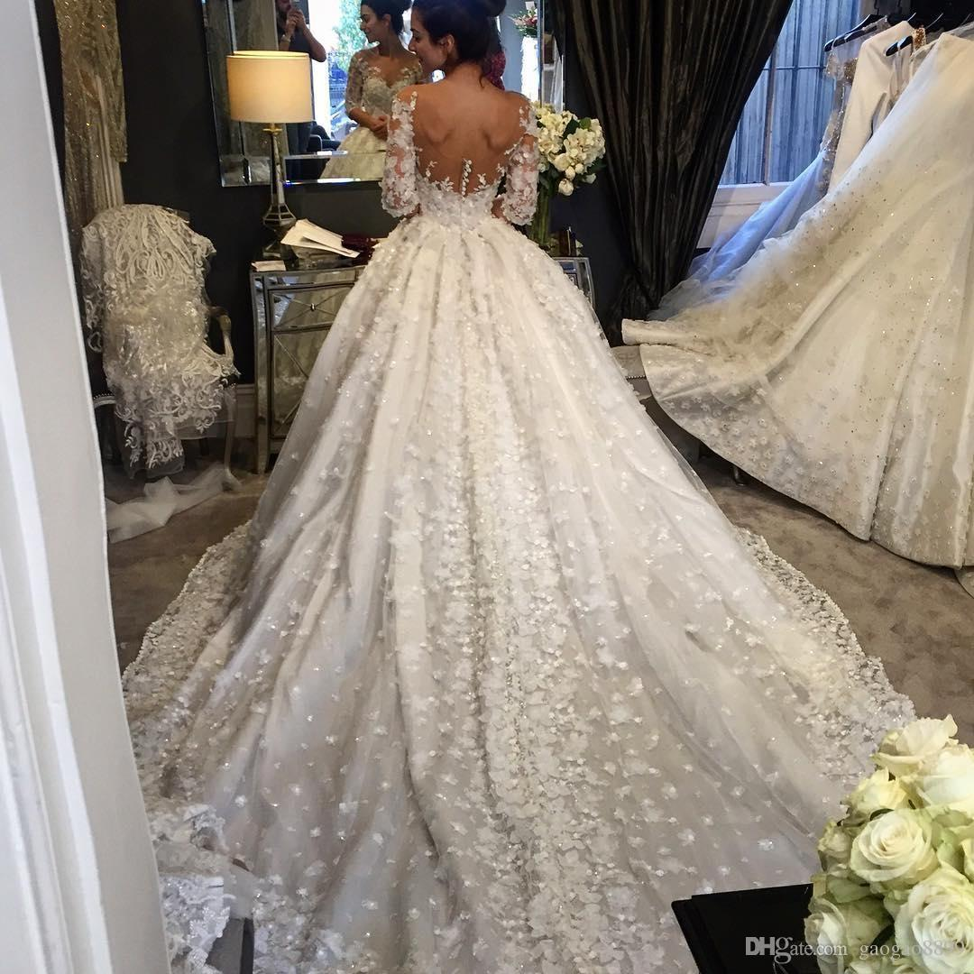 Steven Khalil 2019 Luxury Wedding Dresses Bridal Gowns A Line Sheer Neck Open Back with 3D Flowers Court Train