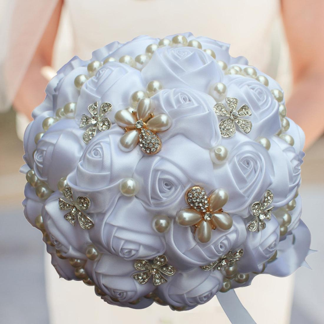 Best Price Cream Pearls Mariage Bridal Bouquets Artificial ...