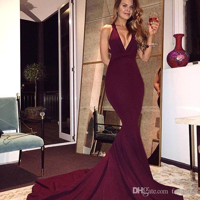 2019 Elegant Burgundy Prom Dresses Sexy Mermaid Backless Sleeveless Sweep Train Long Party Dresses V Neck Cheap Evening Gowns Formal Wear