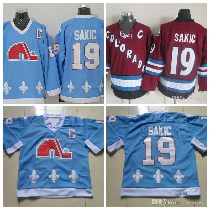 ado Avalanche Quebec Nordiques Vintage 19 Joe Sakic Hockey Jerseys Baby  Blue Vintage CCM Joe Sakic Stitched Jerseys S 3XL From Lejerseys 8f4135277