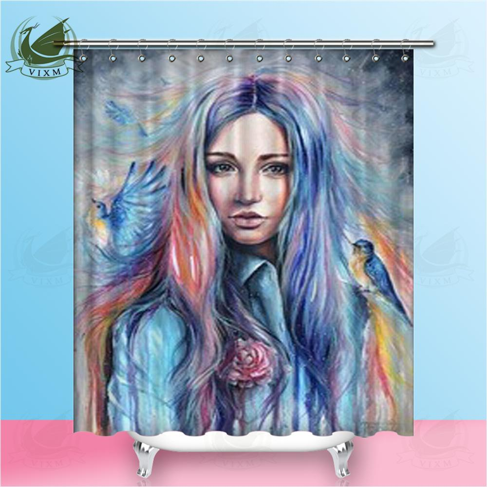 Vixm Colorful Painting Bird Woman Portrait On Cloudy Background Shower Curtains Polyester Fabric Curtains For Home Decor
