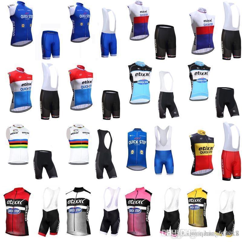 8e224f1e3 2018 New QUICK STEP Team Cycling Jersey 3D Gel Pad Sleeveless Jersey Vest  Bib Shorts Sets Pro Cycling Clothing Mens Riding Suit E0504 Road Bike  Shorts ...