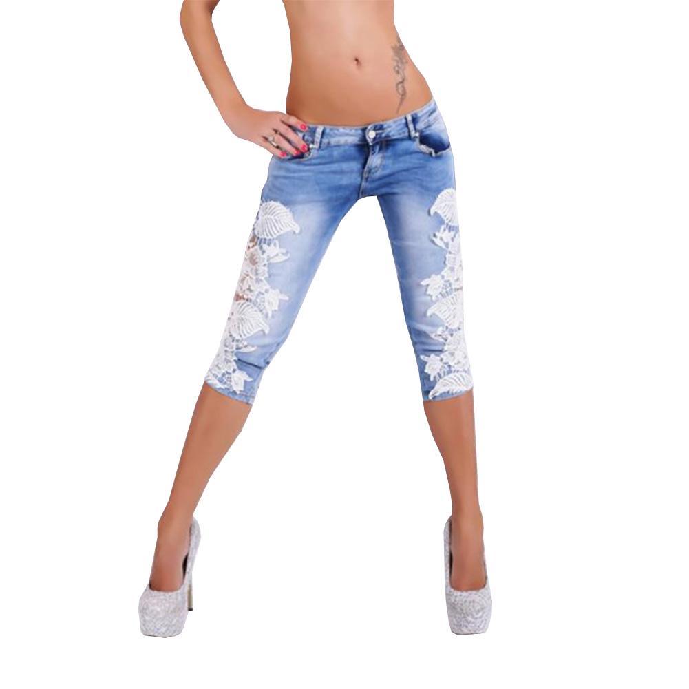 online store 1c301 5fc58 Jeans estivi con jeans all uncinetto sexy in pizzo per donna Pantaloni  skinny slim in denim a vita bassa skinny a vita bassa