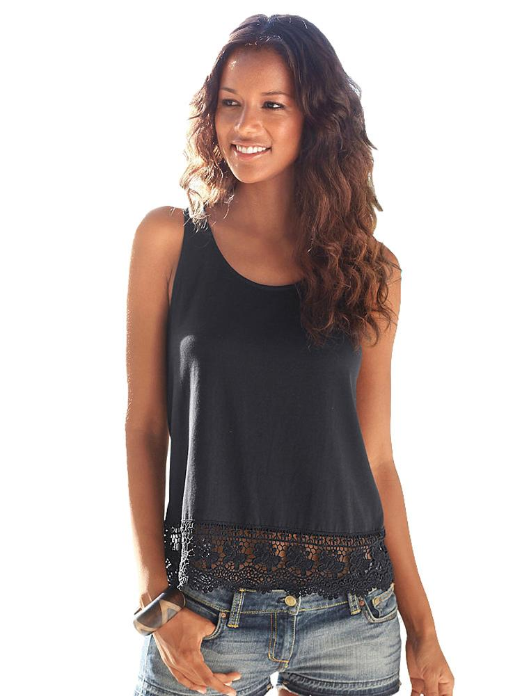 2d921b37563 3XL Plus Size Fashion Women Summer Vest Crochet Lace Sleeveless Solid Tank  Top Sexy Shirt Tees White Black Short Colete Feminino UK 2019 From  Liasheng07