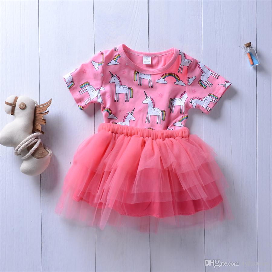 0fabd0f7c7 2019 2018 Lovely Baby Girls Unicorn Princess Tutu Dresses Tulle Girl  Boutique Clothing Toddler Clothes Party Wedding Stars Girl Dress Kid Clothes  From ...