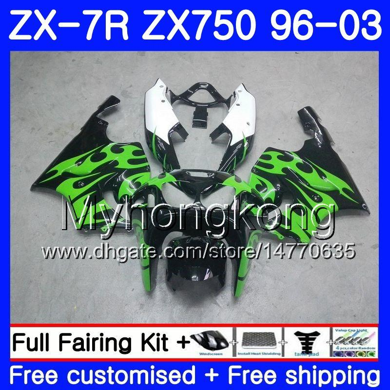 Body For KAWASAKI NINJA Green flames ZX 7R ZX750 ZX7R 96 97 98 99 203HM.6 ZX-750 black ZX 7 R ZX 750 ZX-7R 1996 1997 1998 1999 2003 Fairing