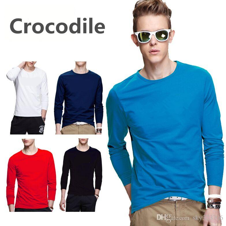 c38c05970243b Men Hot Sell T Shirt Fashion Brand Clothing Men'S Long Sleeve T Shirt  Cotton Elastic Casual T Shirt Male 5XL Plus Size Buy Shirts Online Print  Shirts From ...