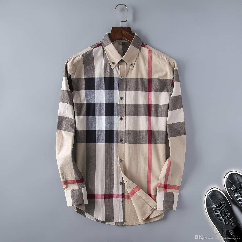 7f44bf3159ba7 Satın Al Marka Erkek Iş Rahat Gömlek Mens Uzun Kollu Çizgili Slim Fit  Camisa Masculina Sosyal Erkek T Shirt Yeni Moda Adam Ekose Gömlek 26,  $23.72   Dhgate.