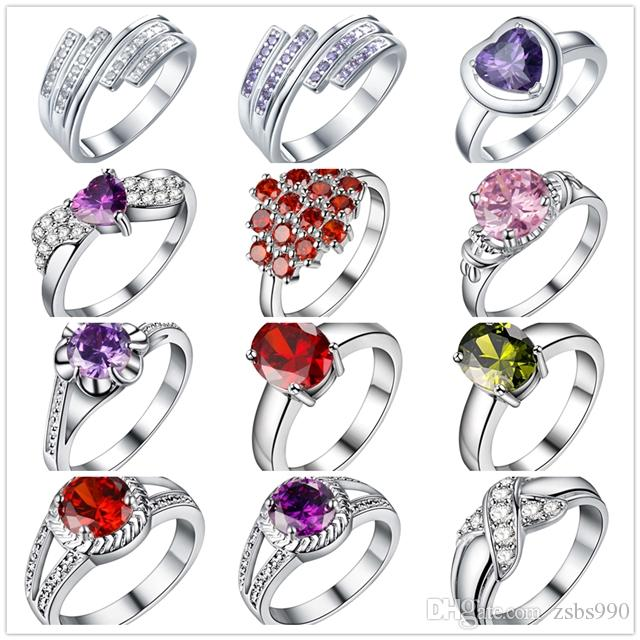 Mixed Style 925 Sterling Silver Plated Finger Ring With Zircon Fashion Cute Party Gift Jewelry For Women Mixed Size