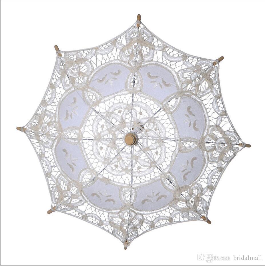 Stock Elfenbein Spitze Braut Hochzeit Sonnenschirm Weiß Spitze Regenschirm viktorianischen Dame Kostüm Zubehör Braut Partei Dekoration Sonnenschirme billig