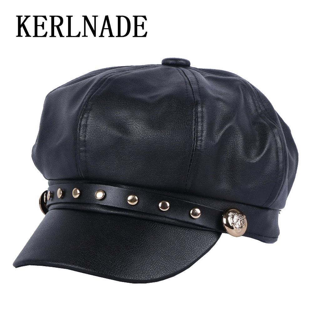 Female Women s Casual Cap New Octagonal Hats Newsboy Cap Beret For Girl  Thick PU Leather With Handmade Spike Studs Button Caps Trucker Hat 59fifty  From ... 33f99e393e62