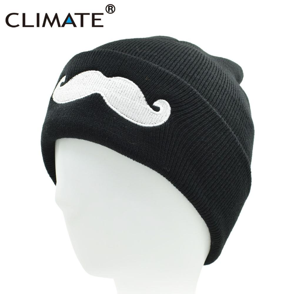 ad6b4b97808 2019 CLIMATE Men Women Cute Black Beanies Mustache Winter Warm Knitted Hats  Beanies 2018 Hip Hop Hat Beanie For Adult Teenagers Boy From Diedou