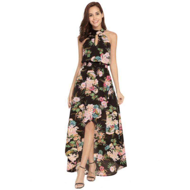 922a9d8f0fb YSMARKET Beach Style Print Long Boho Dress Summer Halter Neck ...