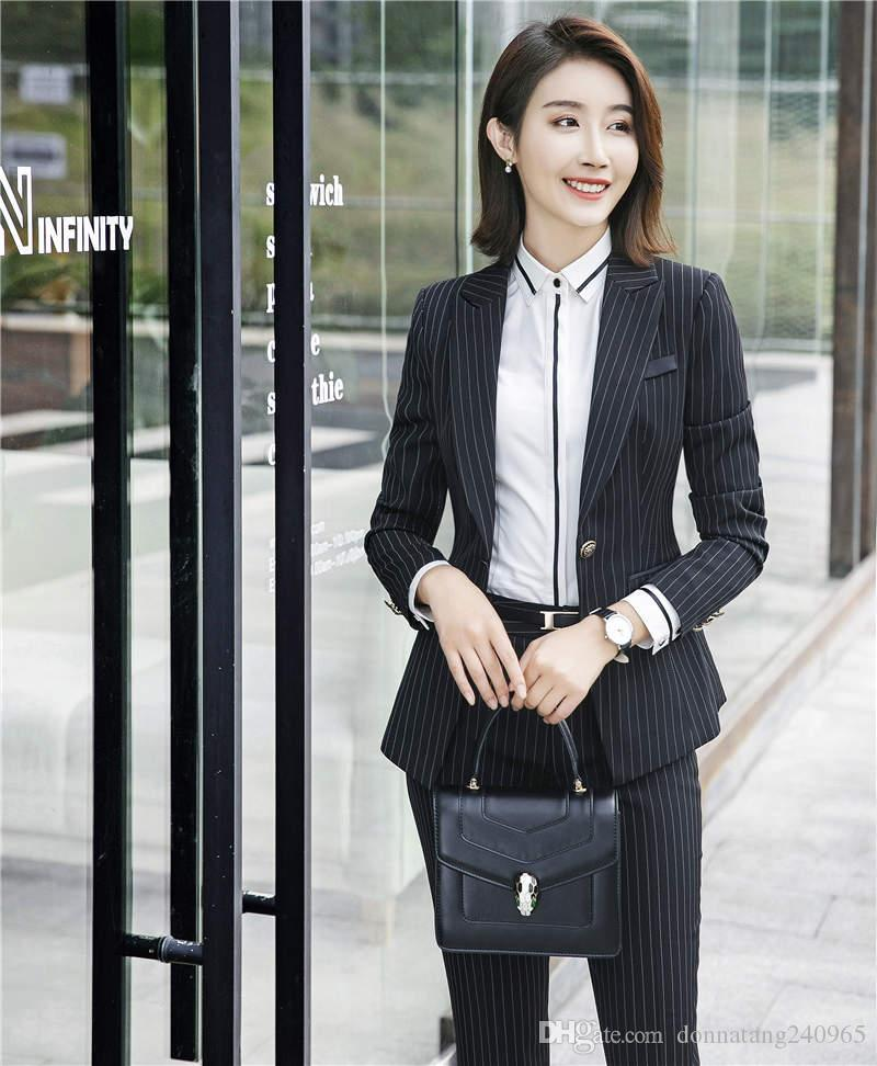 db76d78fa1 New Arrival Office Ladies Work Suits 3 Piece Stripe Jacket Pant Skirt  Professional Formal Female Pantsuits Pant Skirt Suits Trousers Set